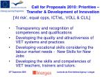 call for proposals 2010 priorities transfer development of innovation