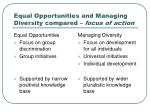equal opportunities and managing diversity compared focus of action