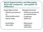 equal opportunities and managing diversity compared perception of difference