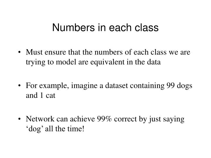 Numbers in each class