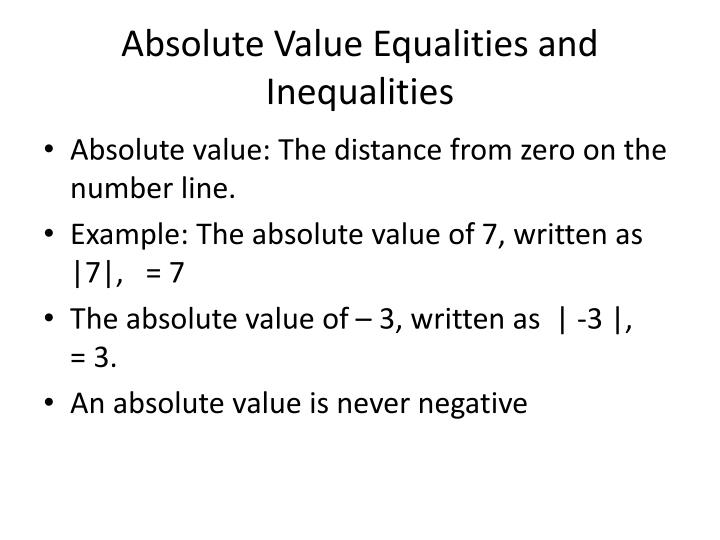 Ppt Absolute Value Equalities And Inequalities Powerpoint