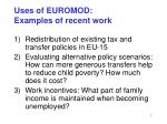 uses of euromod examples of recent work