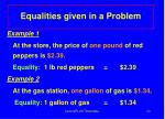 equalities given in a problem