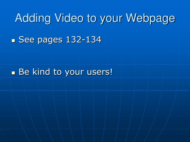 Adding Video to your Webpage