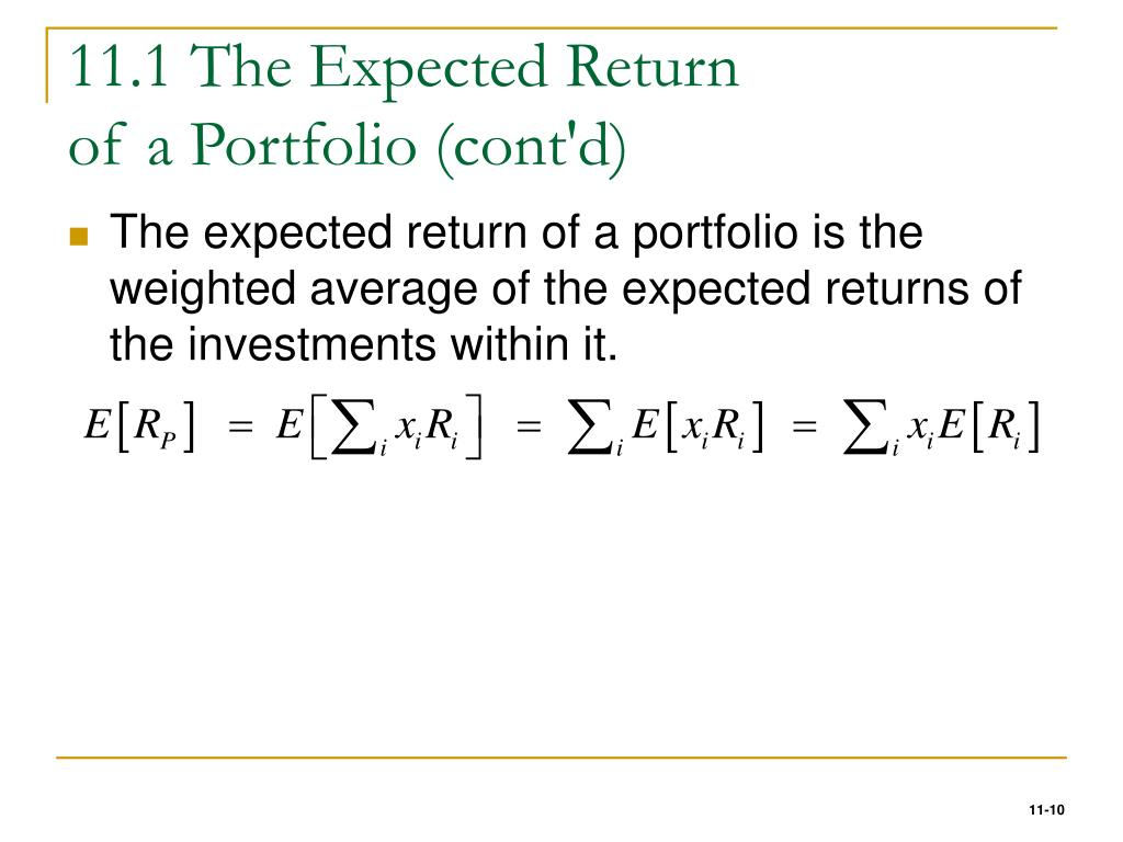 11.1 The Expected Return