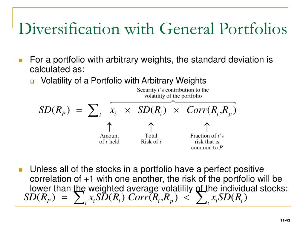 Diversification with General Portfolios