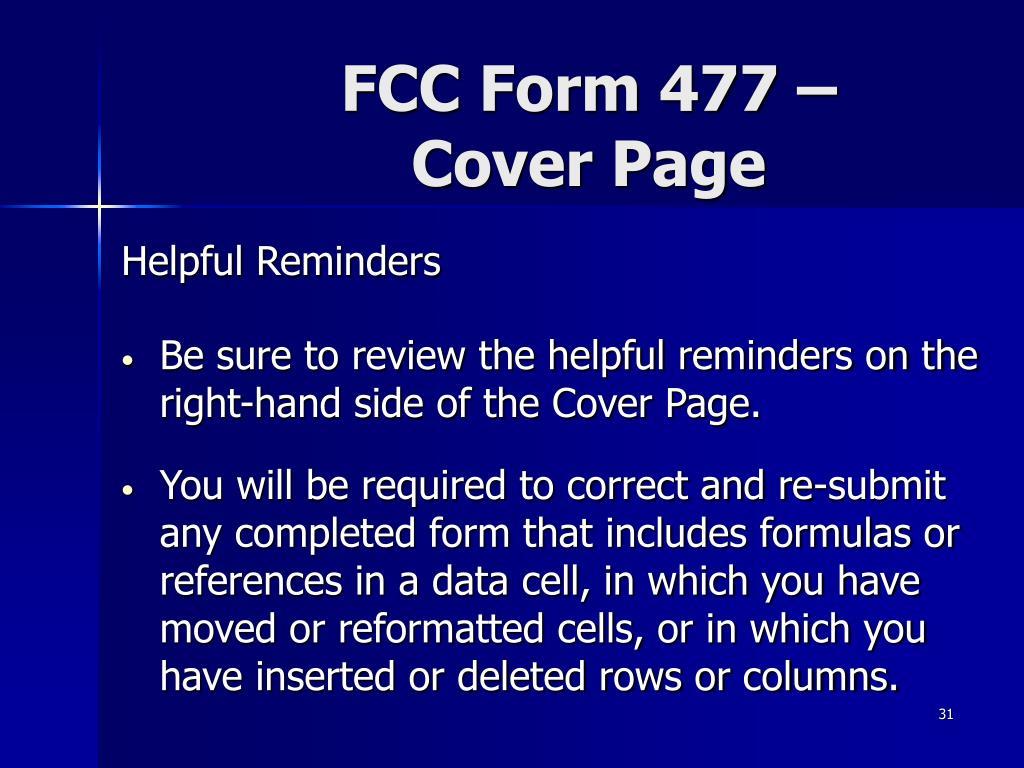 FCC Form 477 –