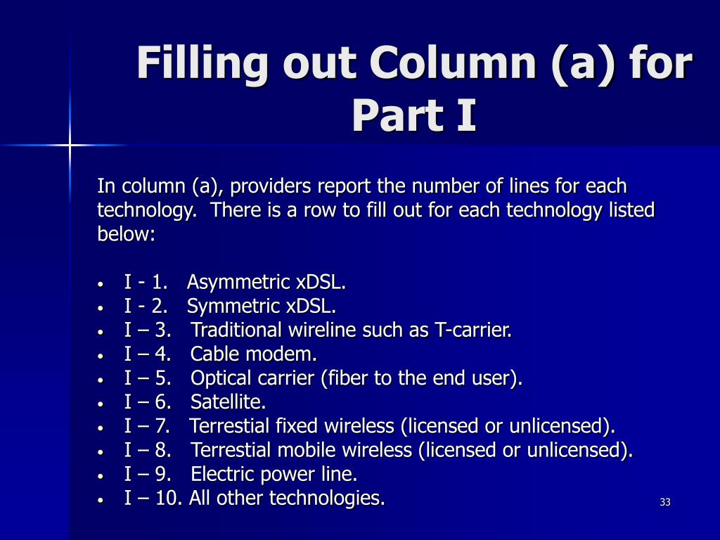 Filling out Column (a) for Part I