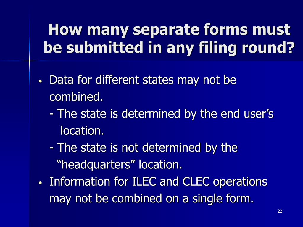 How many separate forms must be submitted in any filing round?