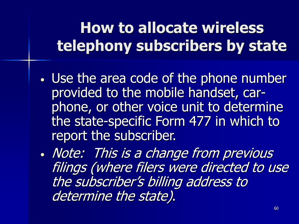 How to allocate wireless telephony subscribers by state