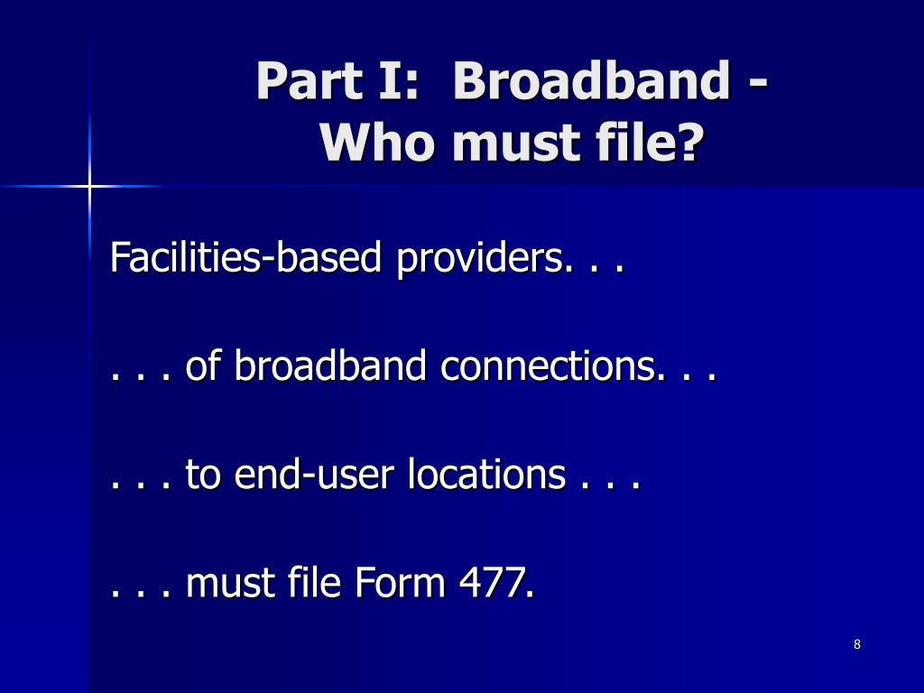 Part I:  Broadband -