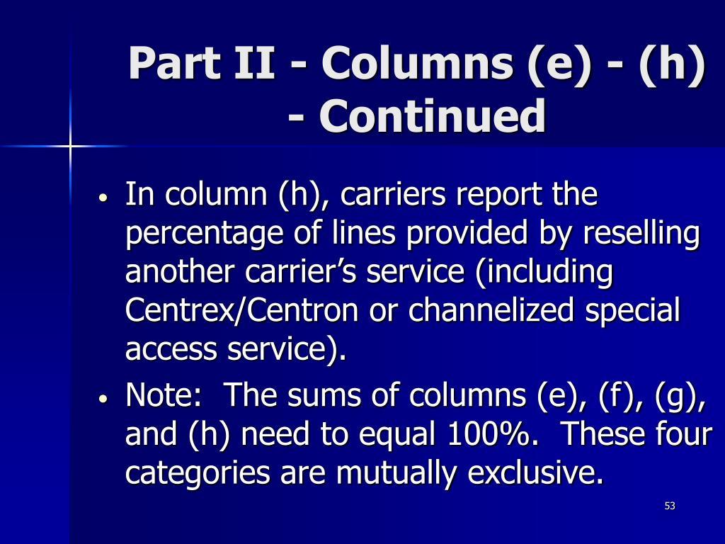 Part II - Columns (e) - (h) - Continued