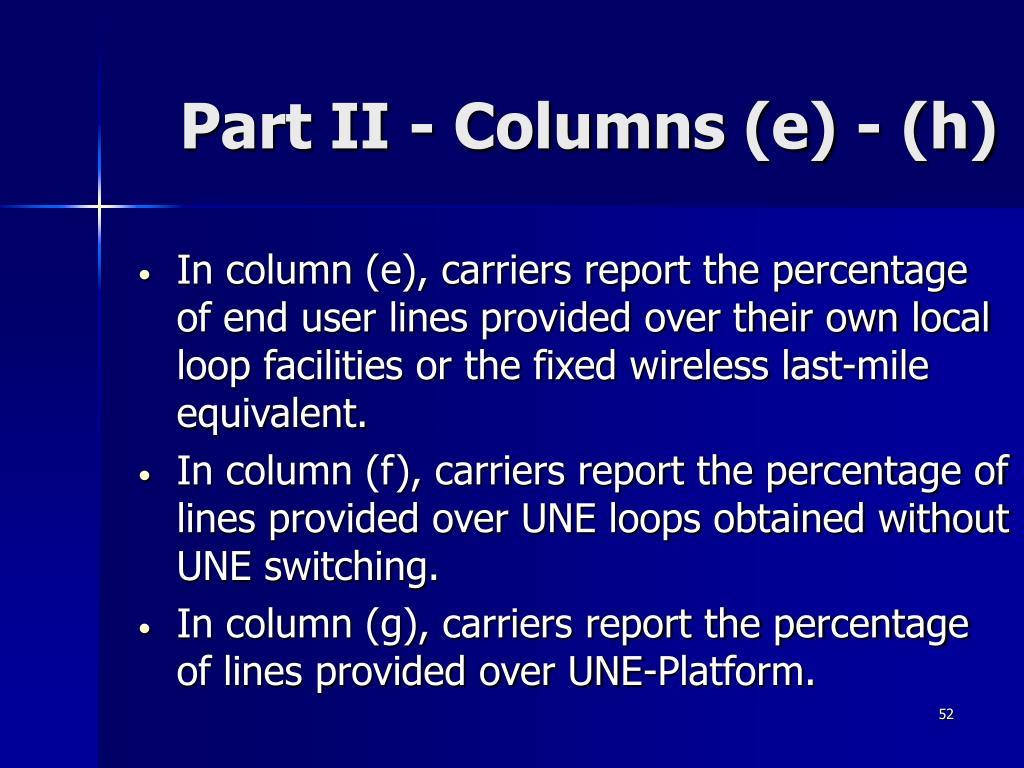 Part II - Columns (e) - (h)