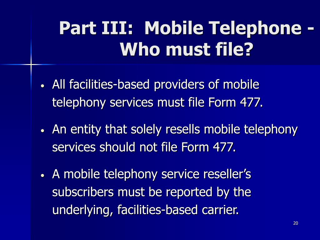 Part III:  Mobile Telephone -