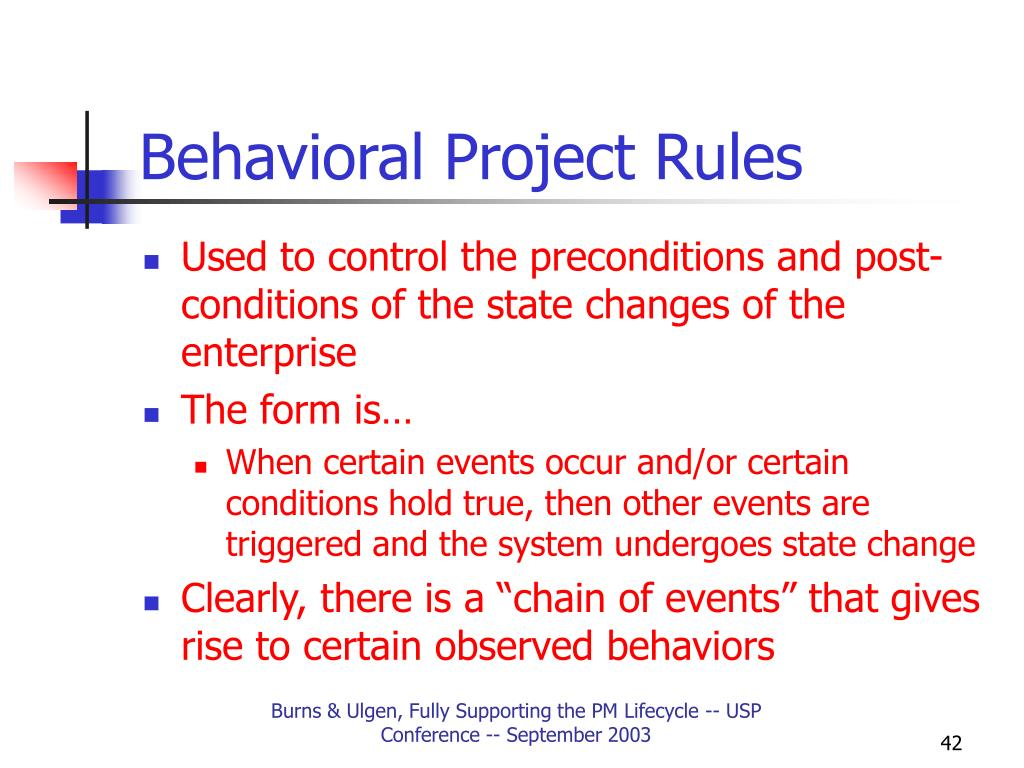 Behavioral Project Rules