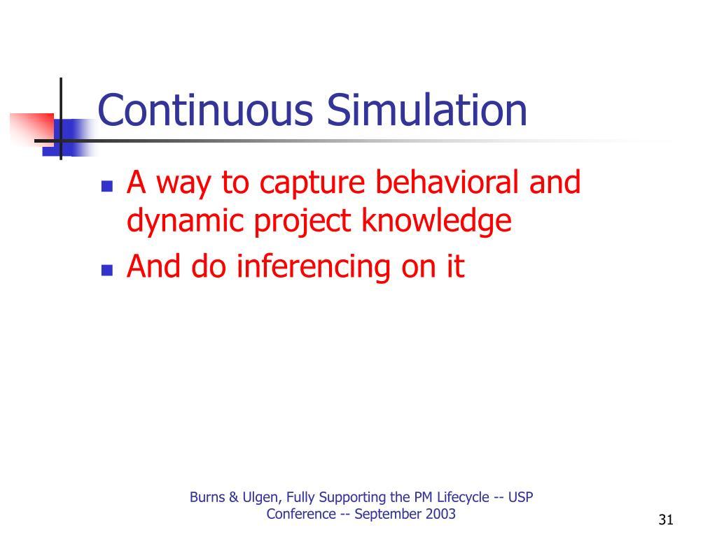 Continuous Simulation