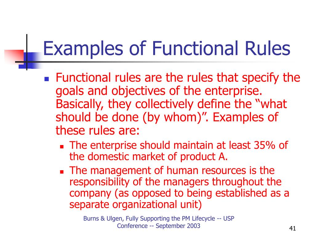Examples of Functional Rules