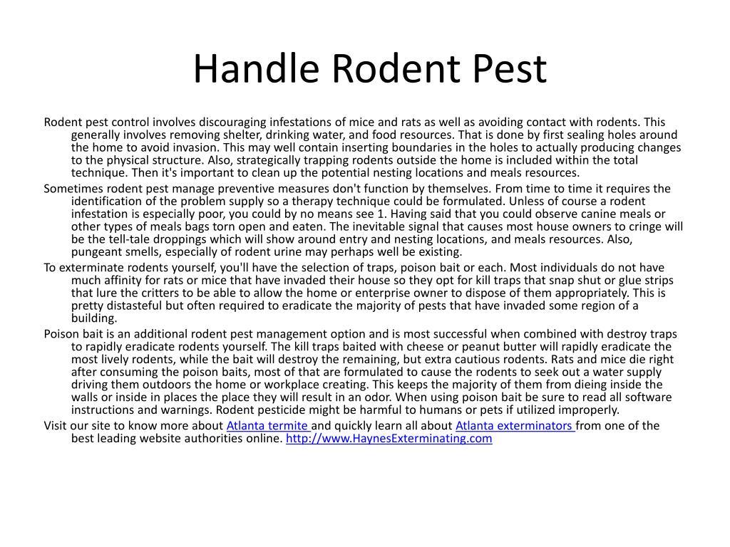 handle rodent pest l.