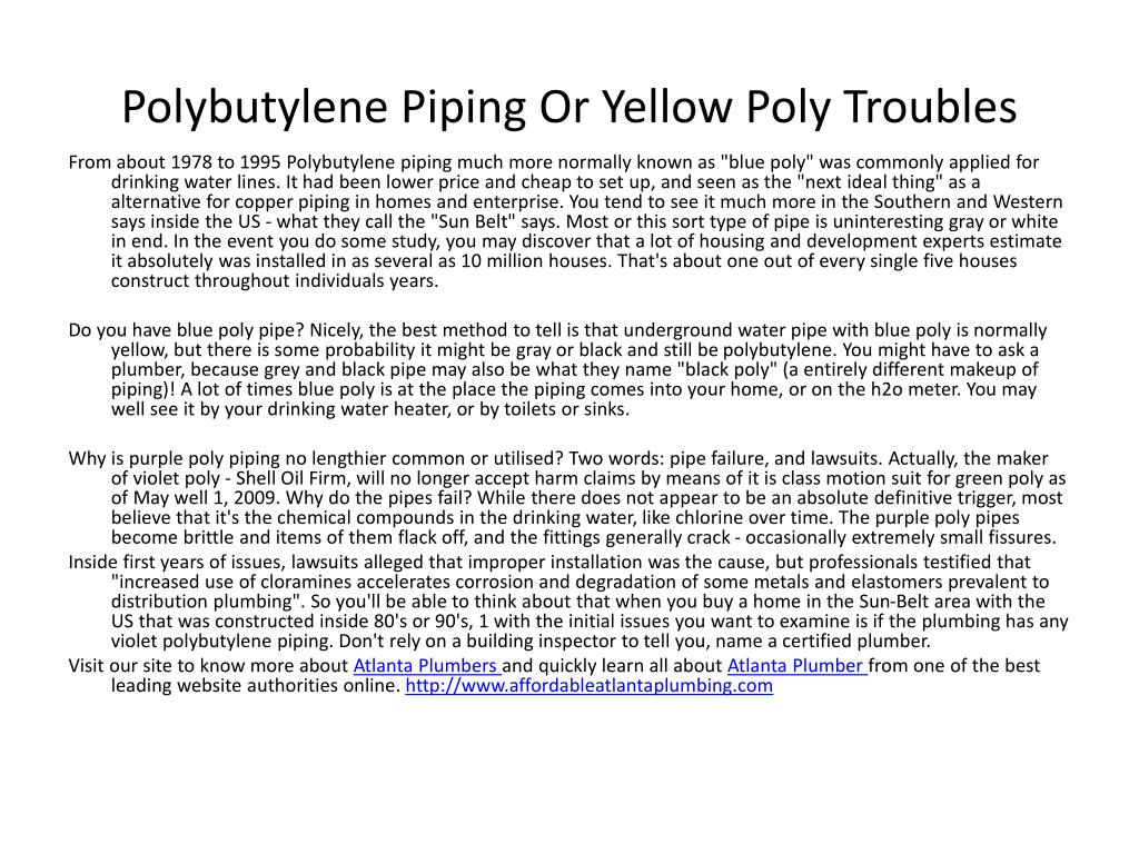 polybutylene piping or yellow poly troubles l.