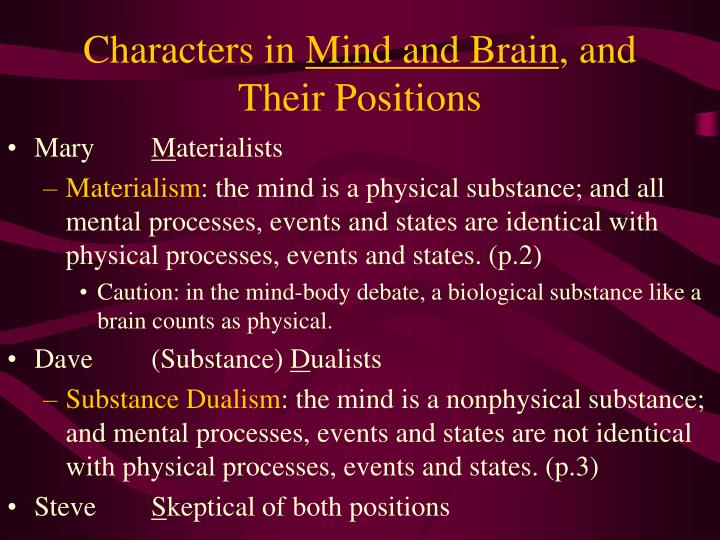 Characters in mind and brain and their positions