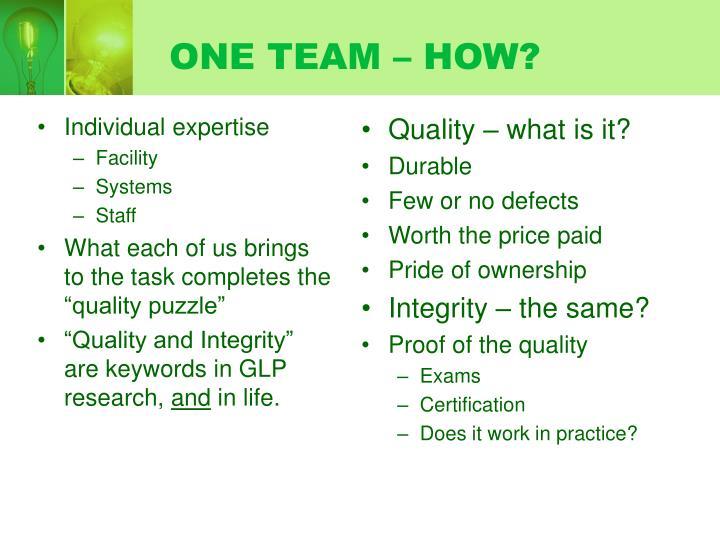 One team how