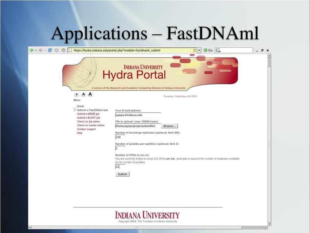 Applications – FastDNAml