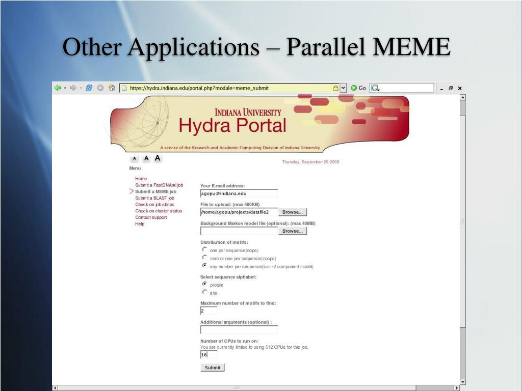 Other Applications – Parallel MEME