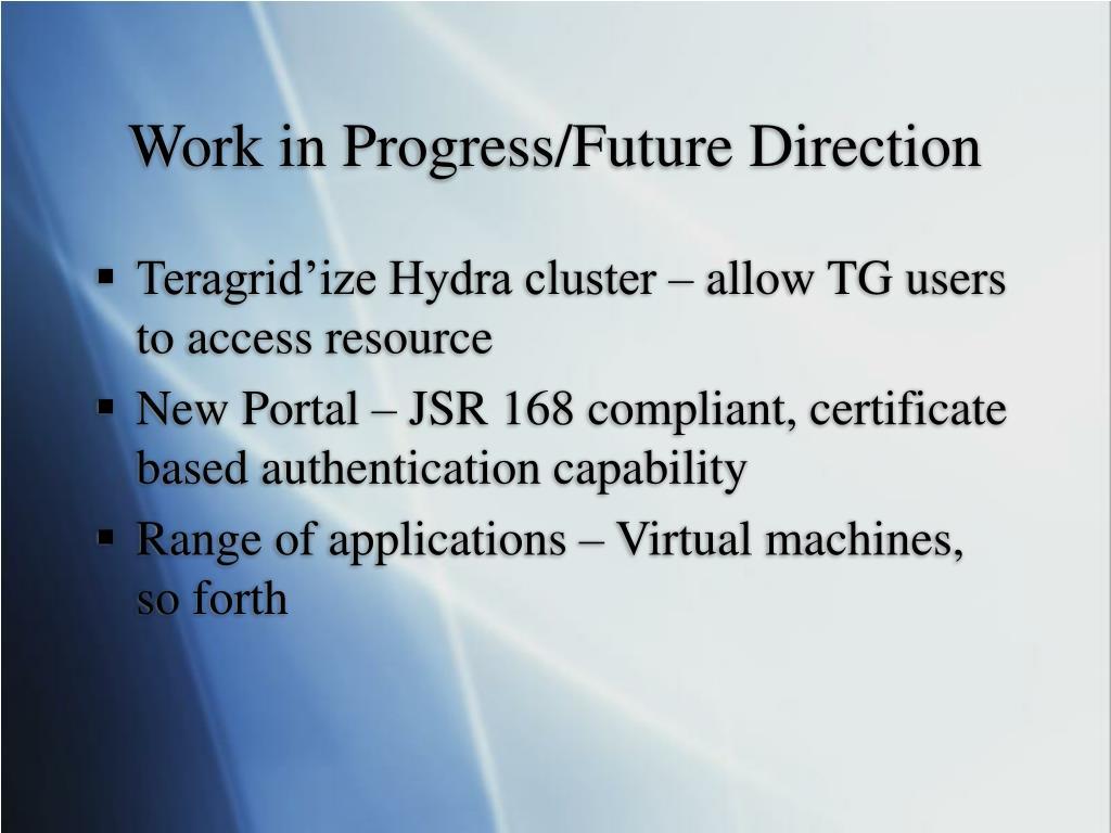 Work in Progress/Future Direction