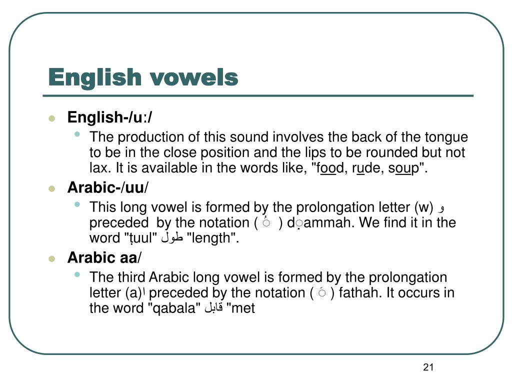 PPT - Consonants & Vowels in English & Arabic PowerPoint ...
