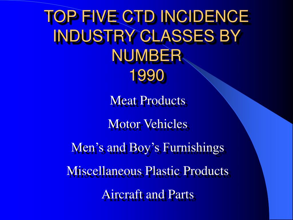 TOP FIVE CTD INCIDENCE INDUSTRY CLASSES BY NUMBER