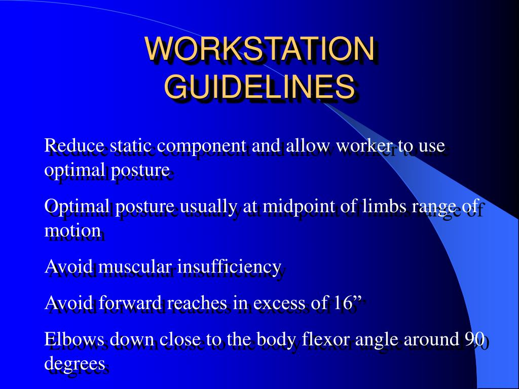 WORKSTATION GUIDELINES