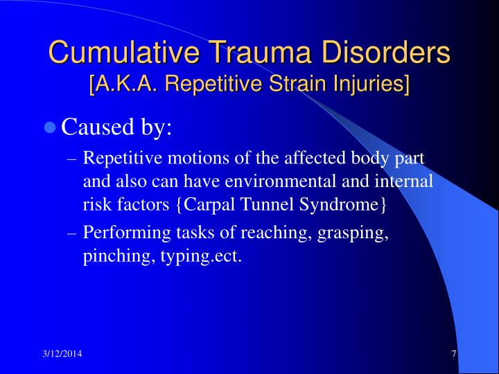 what are cumulative trauma disorders