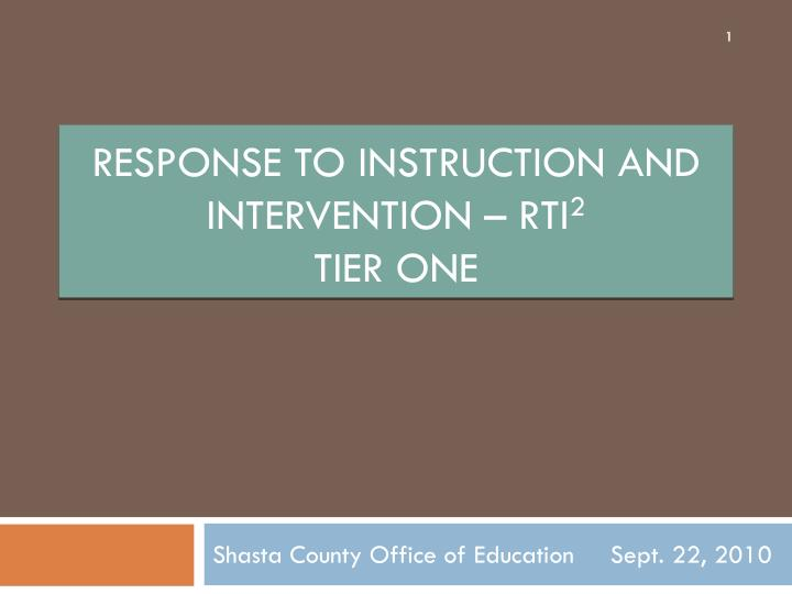response to instruction and intervention rti 2 tier one n.
