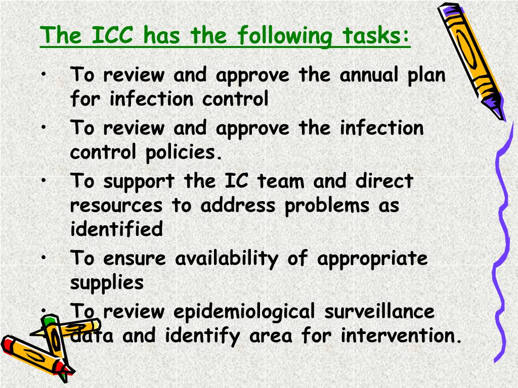 The ICC has the following tasks: