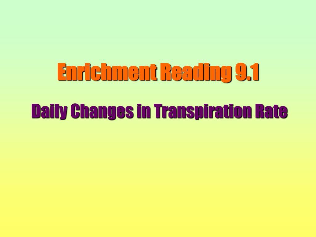 Enrichment Reading 9.1