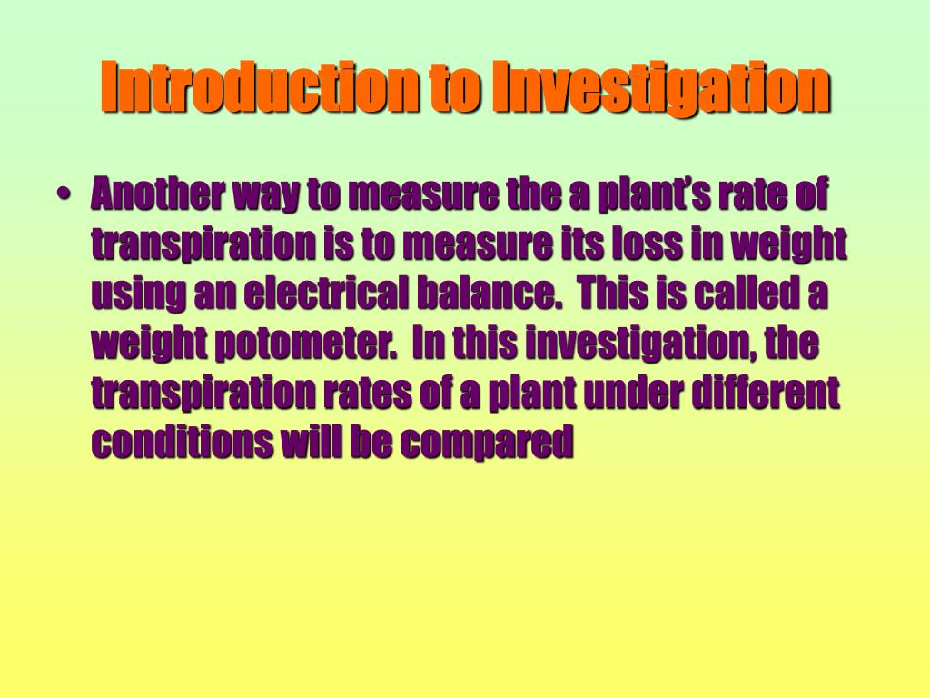 Introduction to Investigation