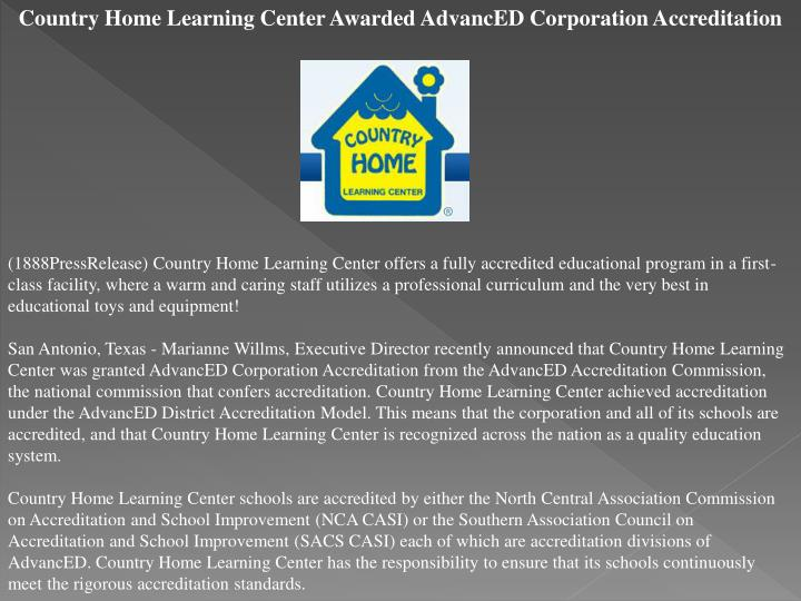 Country Home Learning Center Awarded AdvancED Corporation Accreditation