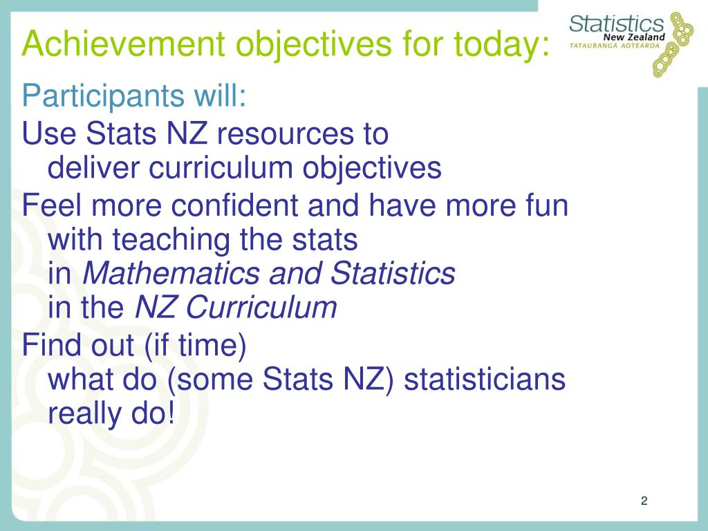 Achievement objectives for today: