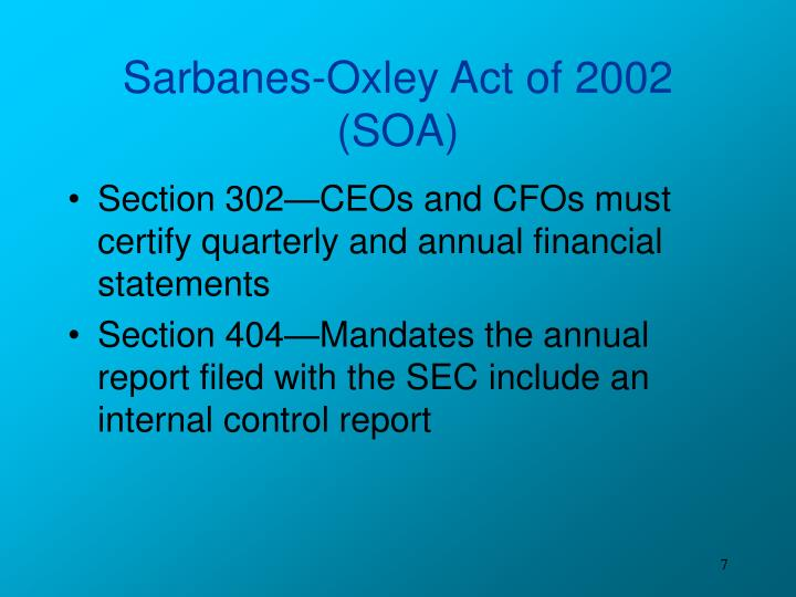 an outline of the sarbanes oxley act Summary of sarbanes-oxley act of 2002 section 3: commission rules and enforcement a violation of rules of the public company accounting oversight board (board) is treated as a violation of the '34 act, giving rise to the same penalties that may be imposed for violations of that act.