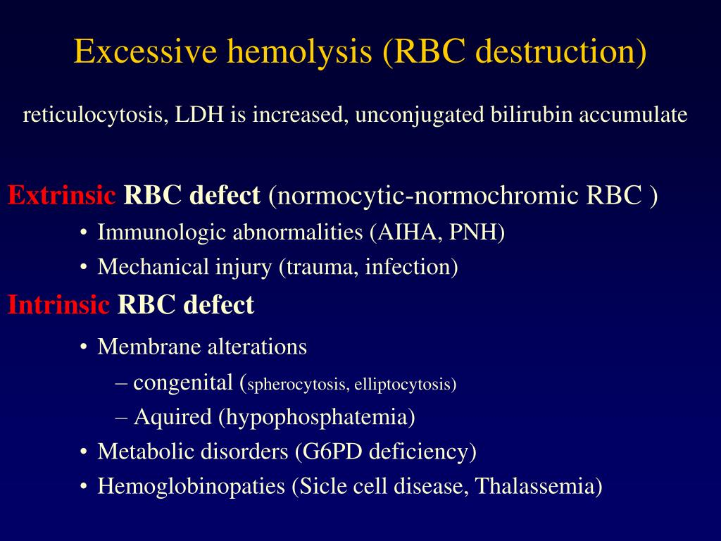 Excessive hemolysis (RBC destruction)