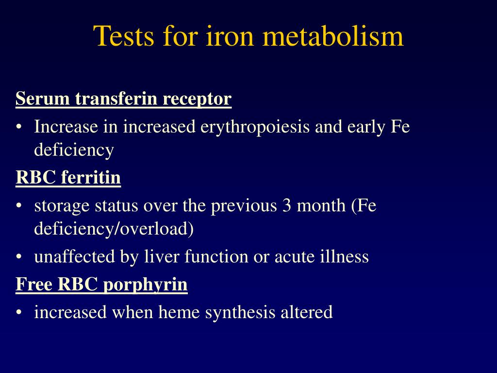 Tests for iron metabolism