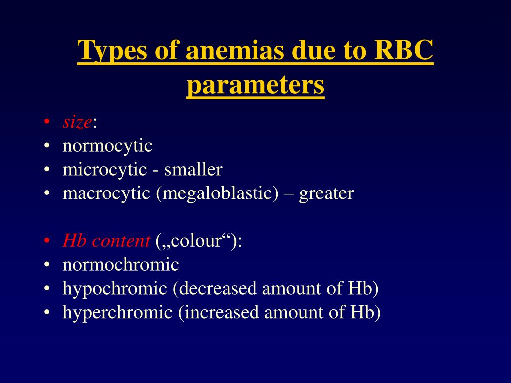 Types of anemias due to RBC parameters