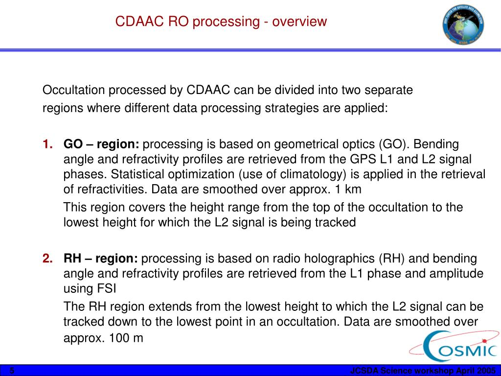 CDAAC RO processing - overview