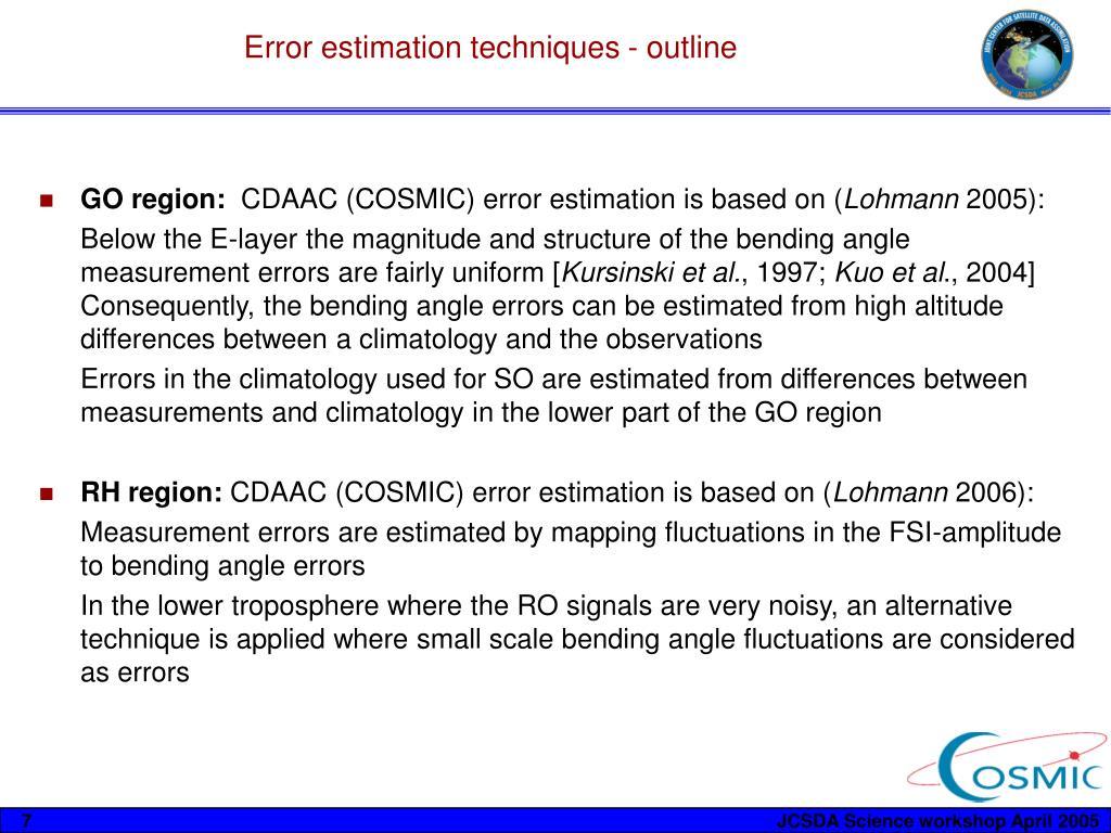 Error estimation techniques - outline