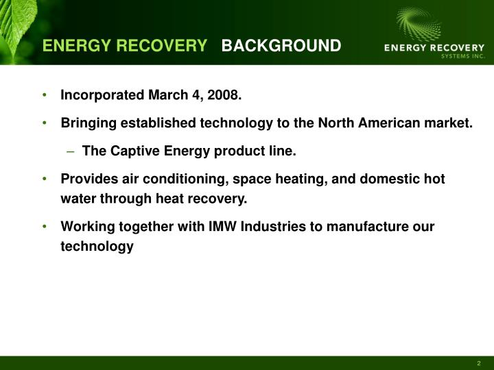 Energy recovery background