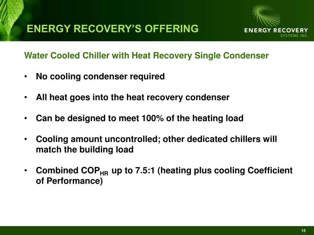 ENERGY RECOVERY'S OFFERING