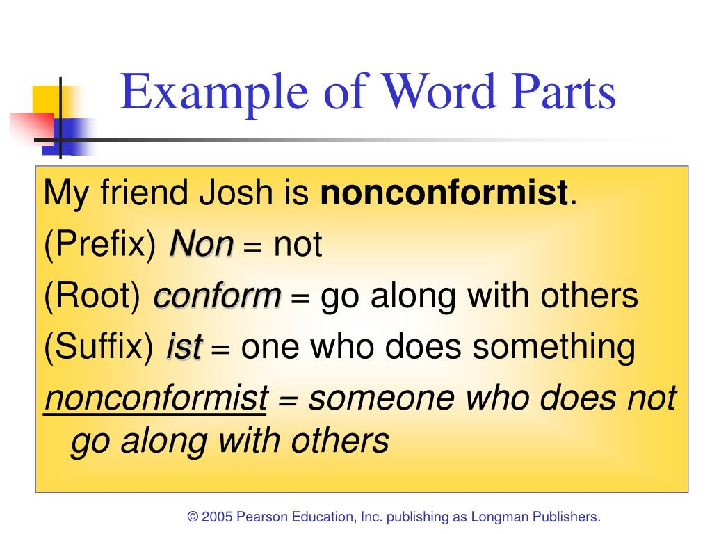 Example of Word Parts