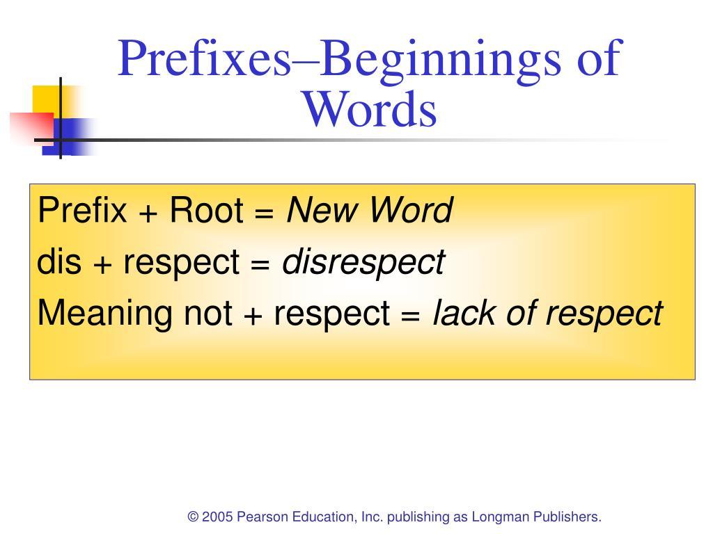 Prefixes–Beginnings of Words