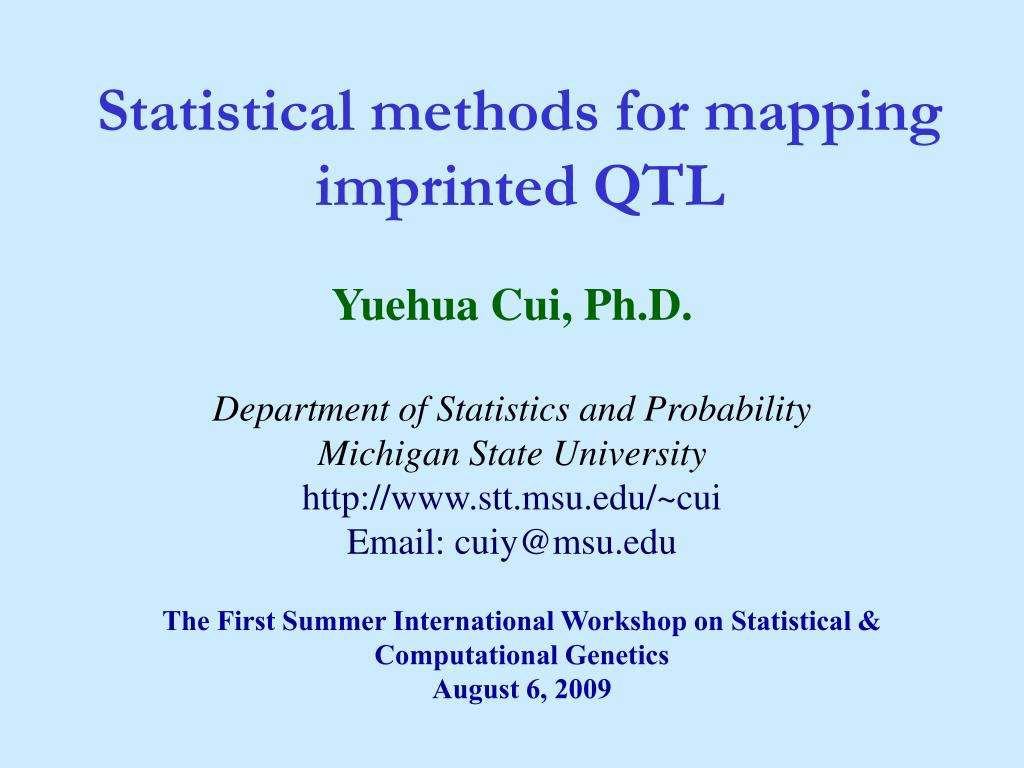 PPT - Statistical methods for mapping imprinted QTL PowerPoint ... Qtl Mapping Methods on
