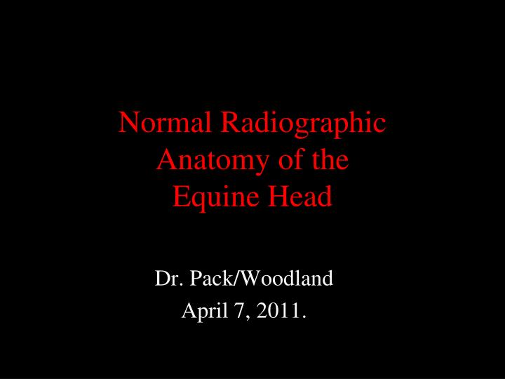 normal radiographic anatomy of the equine head n.